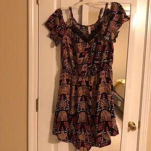 Dresses & Skirts - Black / colorful cold shoulder flows dress